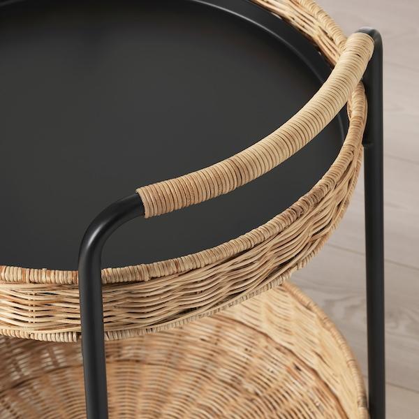 LUBBAN table roulante avec rangement rotin/anthracite 10 kg 5 kg 50 cm 50 cm 66 cm