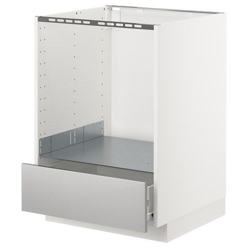 METOD / FÖRVARA élément bas pour four avec tiroir blanc/Grevsta acier inoxydable 60.0 cm 61.6 cm 88.0 cm 60.0 cm 80.0 cm