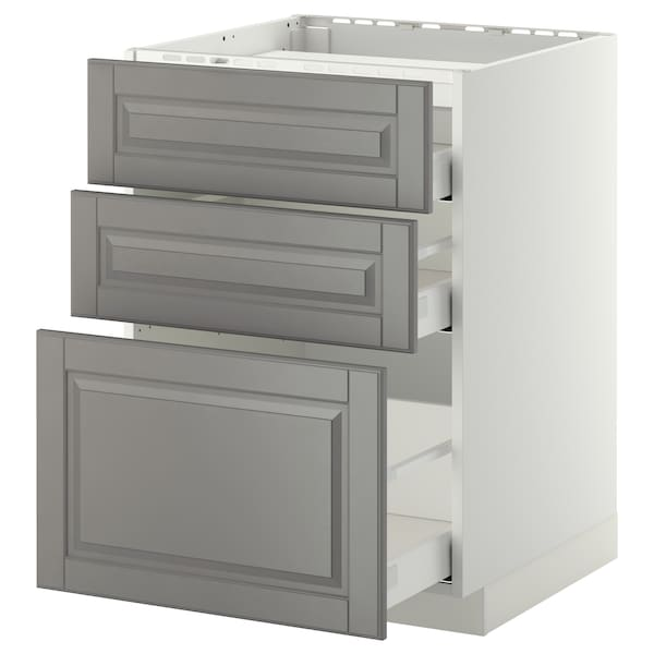 METOD / MAXIMERA él bas tbl cui/3 faces/3 tiroirs blanc/Bodbyn gris 60.0 cm 61.8 cm 88.0 cm 60.0 cm 80.0 cm