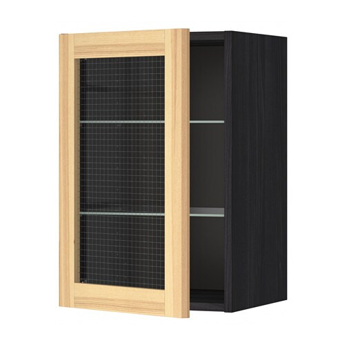 metod l ment mural avec tag res porte vitr e noir aspect bois torhamn fr ne naturel 40x60. Black Bedroom Furniture Sets. Home Design Ideas