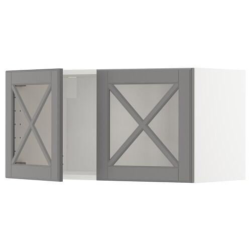 METOD élément mural 2 portes vitrées blanc/Bodbyn gris 80.0 cm 38.9 cm 40.0 cm