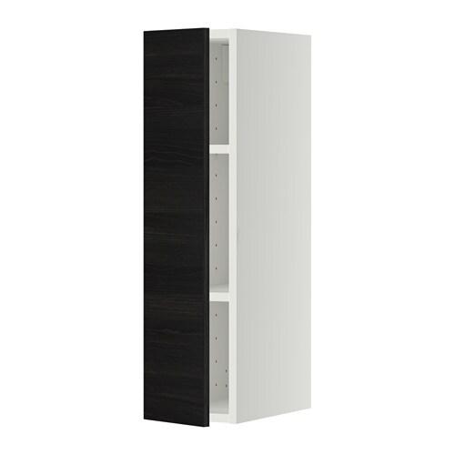 metod l ment mural avec tag res blanc tingsryd noir effet bois 20x80 cm ikea. Black Bedroom Furniture Sets. Home Design Ideas