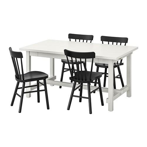 NORDVIKEN/NORRARYD Table et 4 chaises, blanc, noir