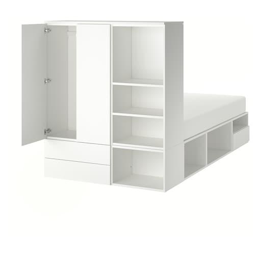 PLATSA cadre lit avec 2 portes + 3 tiroirs blanc/Fonnes 40 cm 243.9 cm 141.6 cm 43 cm 162.6 cm 200 cm 140 cm