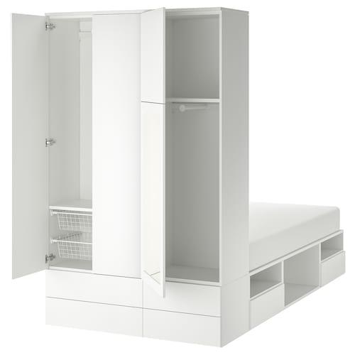 PLATSA cadre lit 4 portes + 6 tiroirs blanc/Fonnes Ridabu 40 cm 244 cm 141.6 cm 43 cm 222.6 cm 200 cm 140 cm