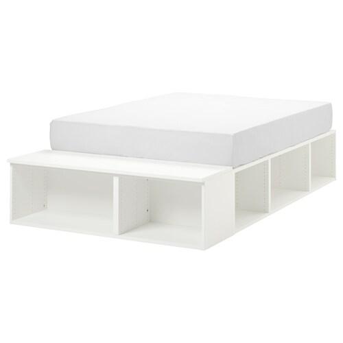 PLATSA cadre lit avec rangement blanc 40 cm 244 cm 140 cm 43 cm 200 cm 140 cm