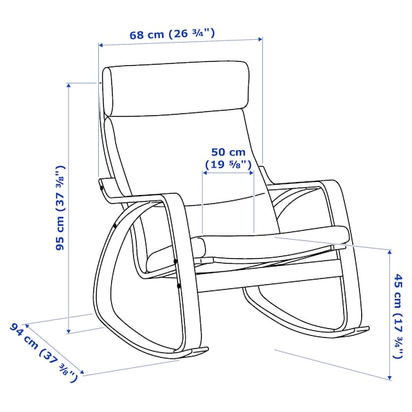 POÄNG fauteuil à bascule plaqué bouleau/Lysed vert vif 68 cm 94 cm 95 cm 56 cm 50 cm 45 cm
