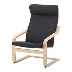 POÄNG fauteuil, plaqué chêne blanchi, Hillared anthracite