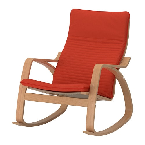 Po ng fauteuil bascule knisa rouge orange ikea for Fauteuil ikea orange