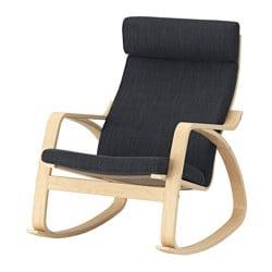 POÄNG fauteuil à bascule, plaqué bouleau, Hillared anthracite