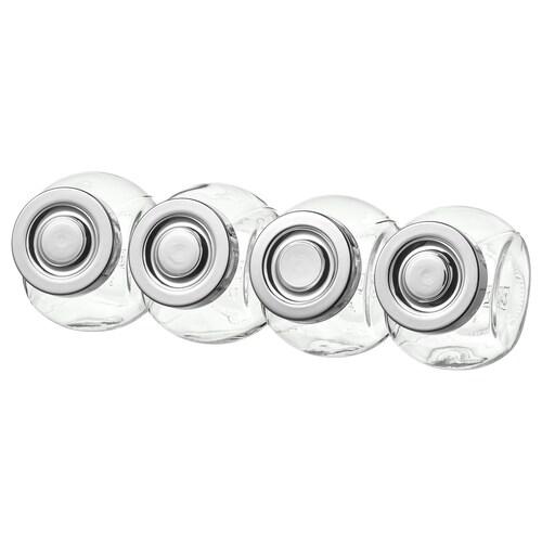 RAJTAN bocaux à épices verre/couleur aluminium 8 cm 15 cl 4 pièces