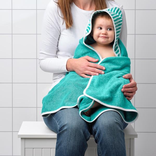 RÖRANDE serviette à capuche rayé/vert 80 cm 80 cm