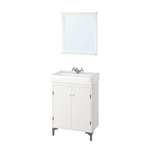 SILVERÅN / HAMNVIKEN mobilier salle de bain, 5 pièces blanc/Runskär mitigeur lavabo 63 cm