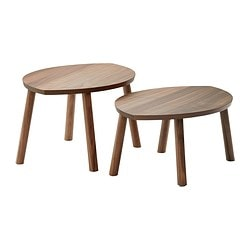 STOCKHOLM Tables gigognes, 2 pièces, placage noyer