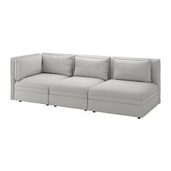 VALLENTUNA canapé modulable 3 places, avec bout ouvert et rangement, Gris clair Orrsta
