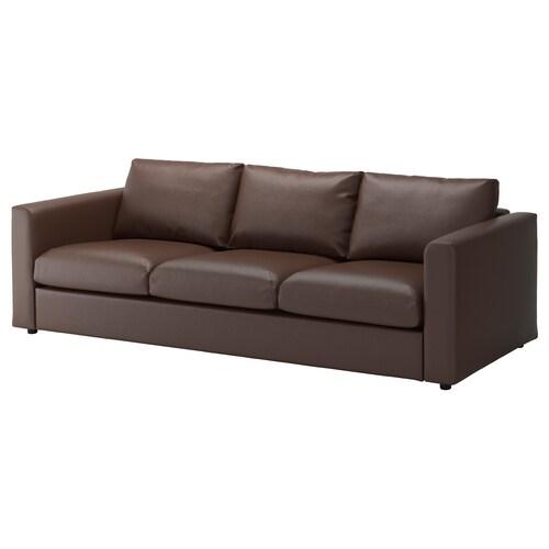 VIMLE canapé 3 places Farsta brun foncé 80 cm 241 cm 98 cm 4 cm 15 cm 65 cm 211 cm 55 cm 45 cm