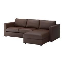 VIMLE canapé 3 places, avec méridienne, Farsta, brun foncé