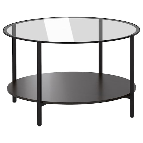 VITTSJÖ table basse brun noir/verre 45 cm 75 cm