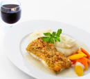 Bake Crusted Fish with Mashed Potato and Vegetables