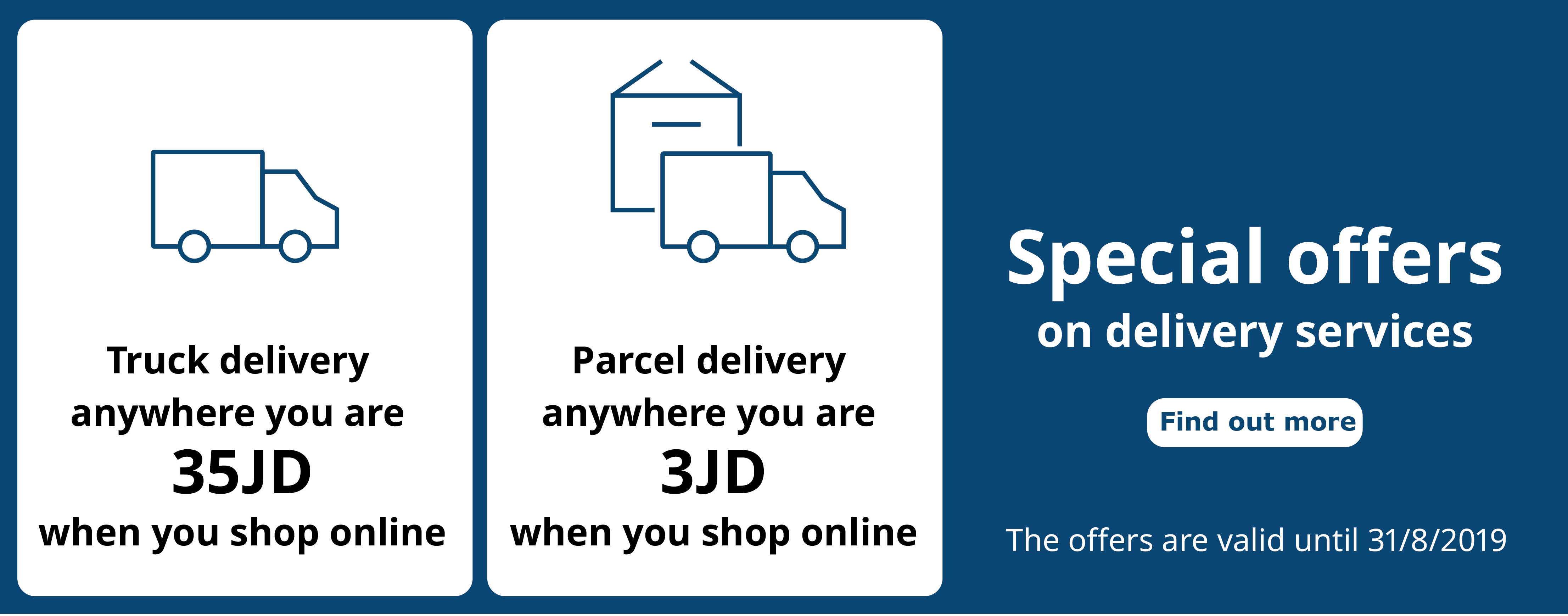Special offers on delivery prices for online shopping !