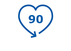Pictogram of the number 90 enclosed by an arrow in the shape of a heart.