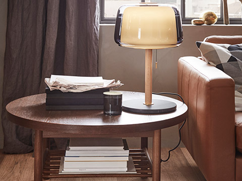 IKEA Home furnishings lisertby coffee table with evedal table lamp