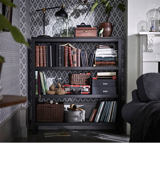 HEMNES Shelving unit, black-brown