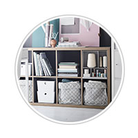 image bubbles showcasing IKEA storage box solutions in the living room