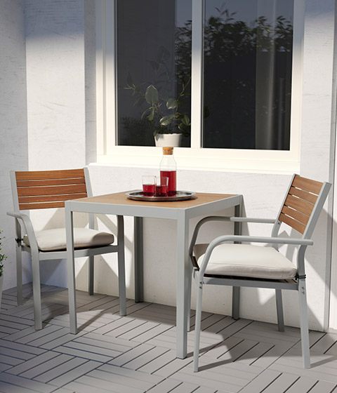SJALLAND outdoor couples dining set light brown