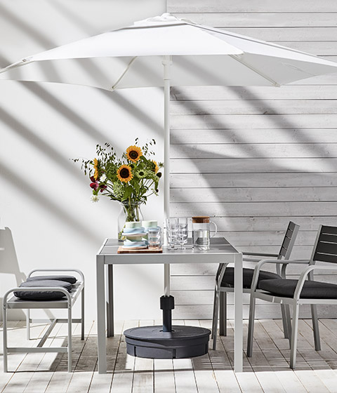 SJALLAND outdoor family dining set grey