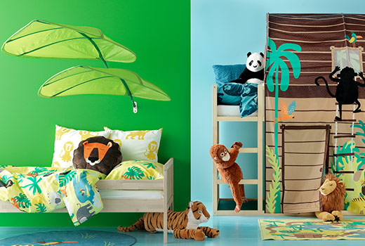 DJUNGELSKOG COLLECTION: Bring lions, tigers, monkeys and pandas to your child's bedroom: the textiles and the soft toys from the DJUNGELSKOG series are all inspired by the wildlife.