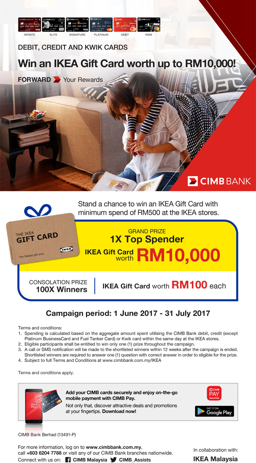 CIMB promo, Win an IKEA Gift Card worth up to RM10,000!
