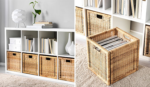 BRANAS boxes in KALLAX open shelving unit