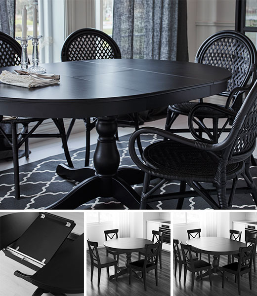 INGATORP Black Dining Table