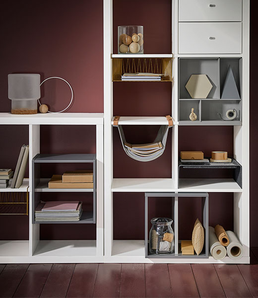 KALLAX shelving cabinet with boxes and baskets inserts