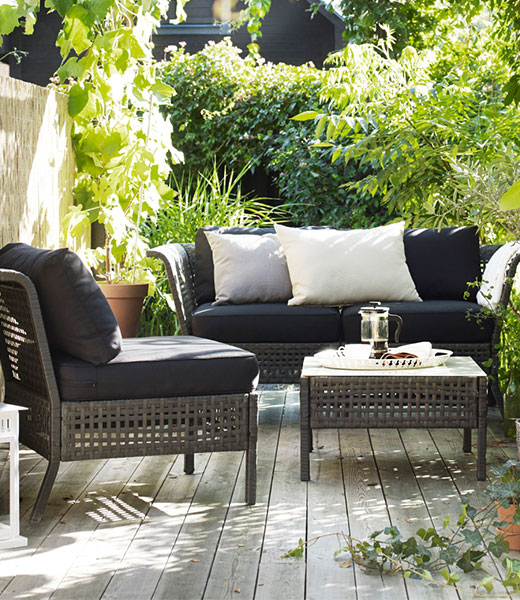 KUNGSHOLMEN lounge set outdoor, black