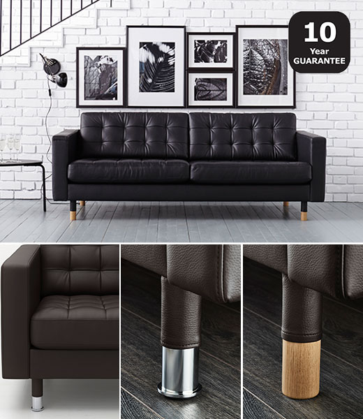 LANDSKRONA leather coated sofa