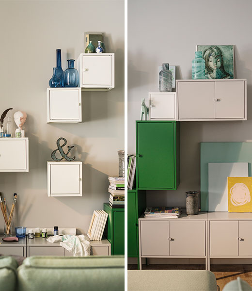 LIXHULT cabinets white, grey, green