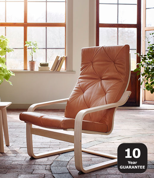 POANG armchair leather brown