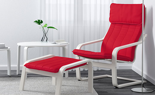 red POANG footstool with red POANG chair