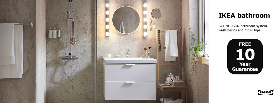 Ikea godmorgon vanity in high gloss grey mix materials for Ikea bathroom ideas and inspiration