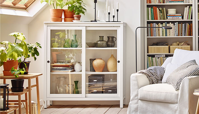 HEMNES Glass-door cabinet IKEA Sliding doors do not take up any space when opened. Solid wood has a natural feel.
