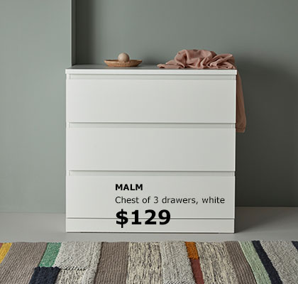 MALM chest of 3 drawers