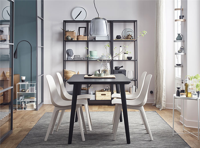 LISABO / ODGER Table and 4 chairs, black, beige