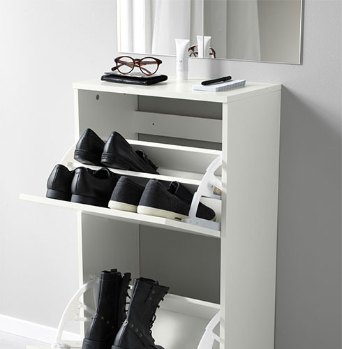 BISSA shoe cabinet with 2 compartments, white