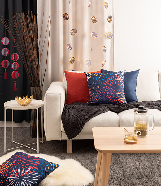 IKEA home furnishings Chinese New Year CNY 2019 SOLGLIMTAR living room cushion setup