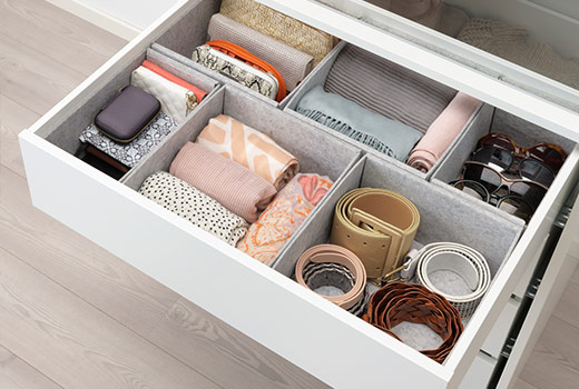 KOMPLEMENT Box, set of 6 IKEA Soft felt protects your accessories and keeps them neatly in place.