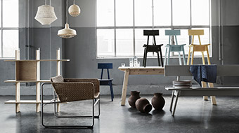 New at IKEA, the INDUSTRIELL collection includes a shelving unit, and armchair, pendant lamps, chairs, table, benches and vases in light, natural colours.