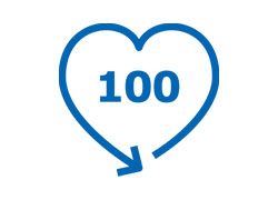 Pictogram of the number 100 enclosed by an arrow in the shape of a heart.