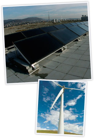 solar panels and wind turbines producing sustainable energy